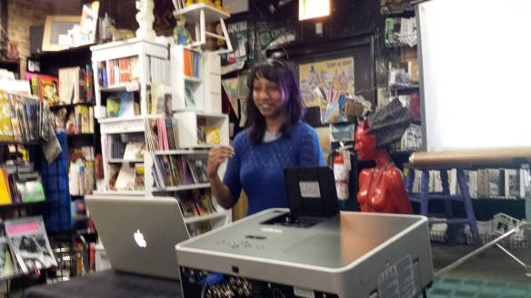 On June 13th, I got to present at Laydeez do Comics!  I'm a huge fan of LDC and their mission and it was a great privilege and honor to be invited to speak at the Chicago franchise.  The event was held at Quimby's, which you should definitely make a point to visit.  Photo credit Liz Mason.